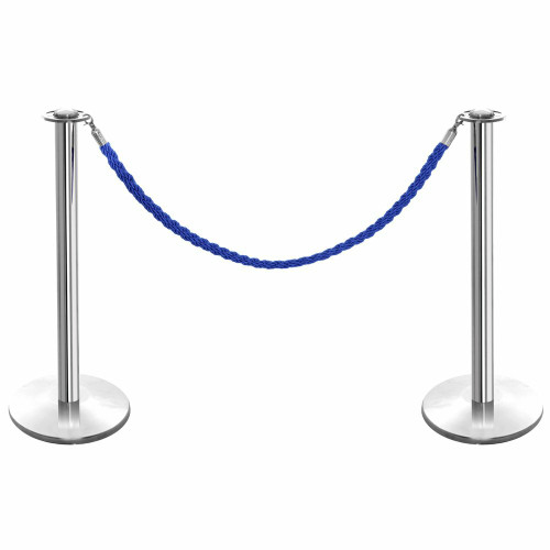 Pair of Rope Barrier Posts - Polished Stainless Steel Posts with Blue Twisted Rope