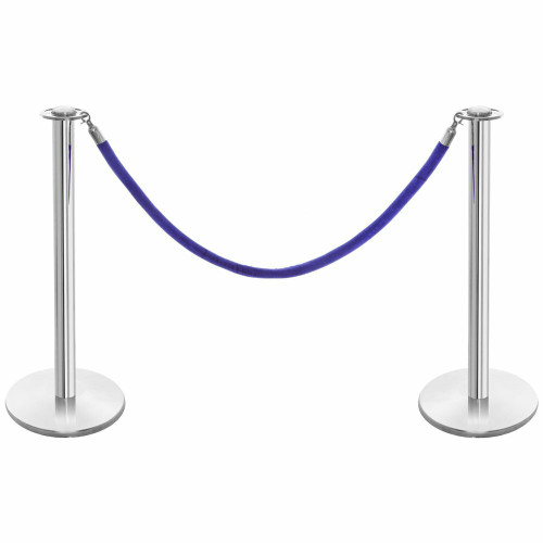 Pair of Rope Barrier Posts - Polished Stainless Steel Posts with Blue Velvet Rope