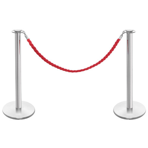 Pair of Rope Barrier Posts - Polished Stainless Steel Posts with Red Twisted Rope