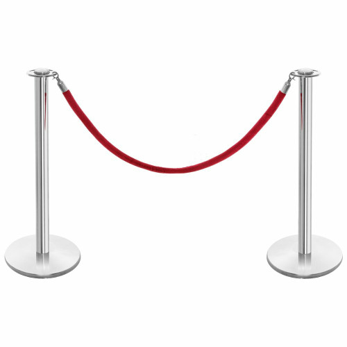 Pair of Rope Barrier Posts - Polished Stainless Steel Posts with Red Velvet Rope