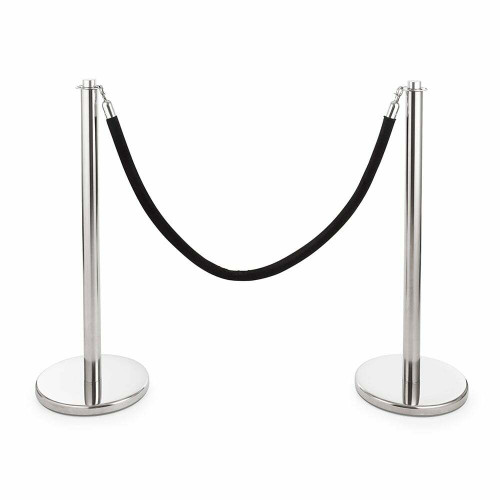 Pair of Universal Range Rope Barriers - Polished Stainless Steel Posts - Black Velvet Rope