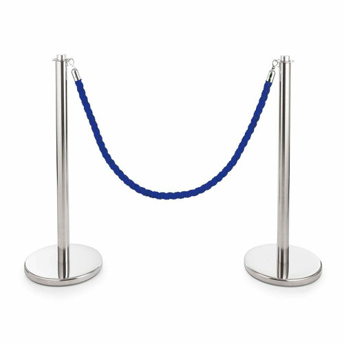 Pair of Universal Range Rope Barriers - Polished Stainless Steel Posts - Blue Twisted Rope