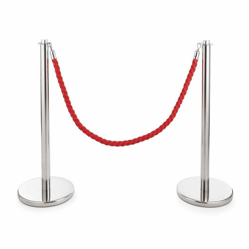 Pair of Universal Range Rope Barriers - Polished Stainless Steel Posts - Red Twisted Rope