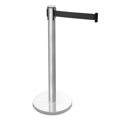 Retractable Belt Barrier Post - Brushed Stainless Steel Post with Black Webbed Belt