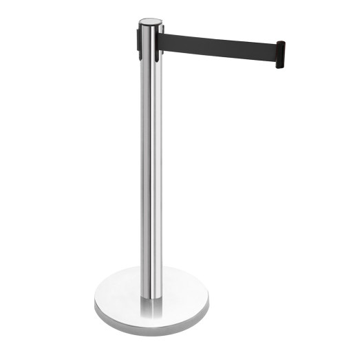 Retractable Belt Barrier Post - Polished Stainless Steel Post with Black Webbed Belt