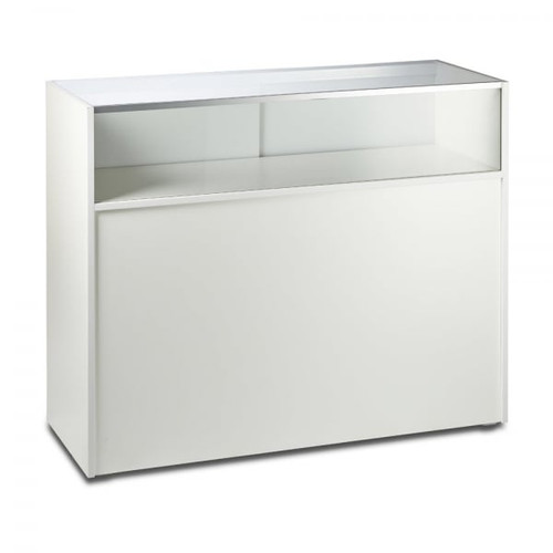 White Shop Counter with 1/4 Glass Display - Silhouette Range