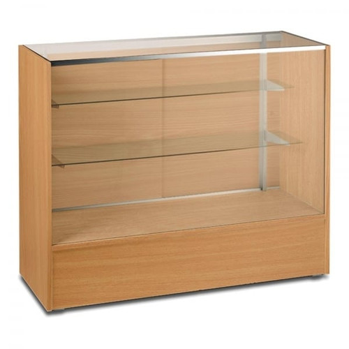 Beech Shop Counter with 3/4 Glass Display and 2 Glass Shelves - Silhouette Range