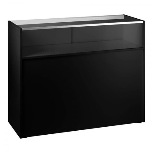 Black Shop Counter with 1/4 Glass Display - Silhouette Range