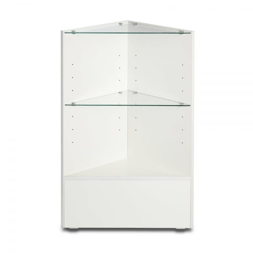 White Shop Display Corner Counter with Glass shelves - Silhouette Range
