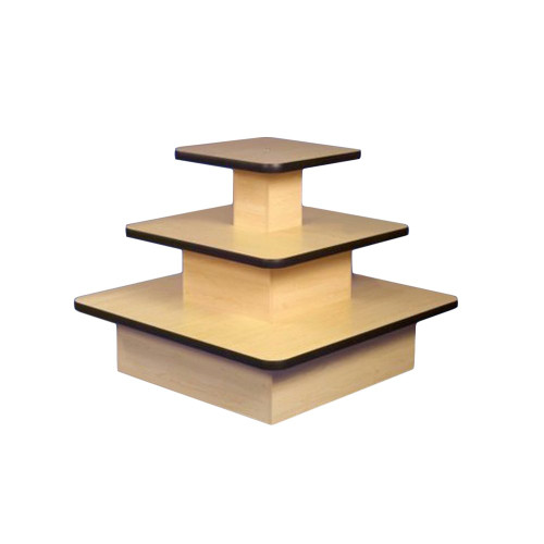 Maple Economy 3 Shelf Display Island with Black Trim - Square