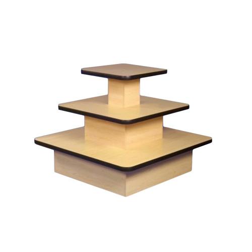 Maple Economy 3 Shelf Display Island with Black Trim - Square