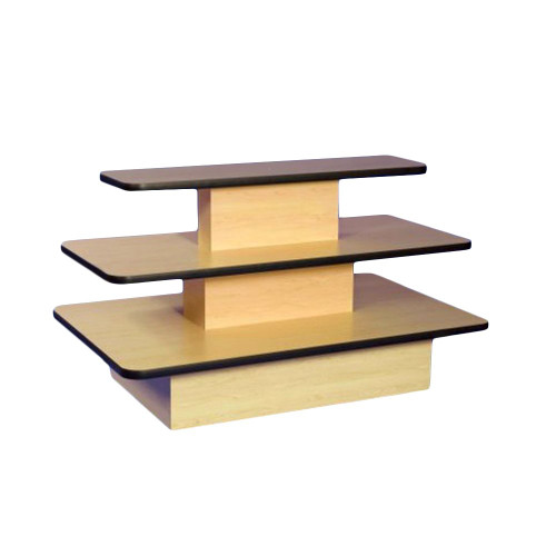 Maple  Economy 3 Shelf Display Island with Black Trim - Rectangle