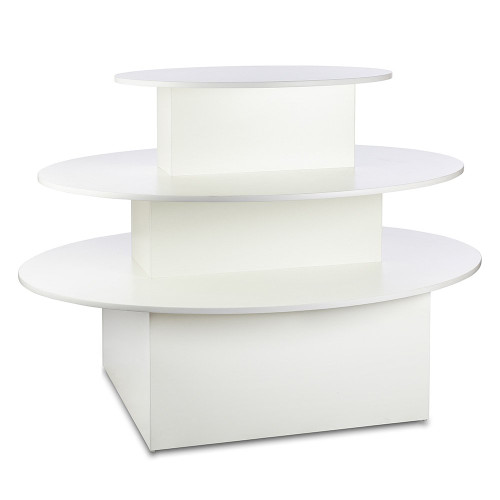 White 3-Shelf Island Display Gondola - Oval - Silhouette Range