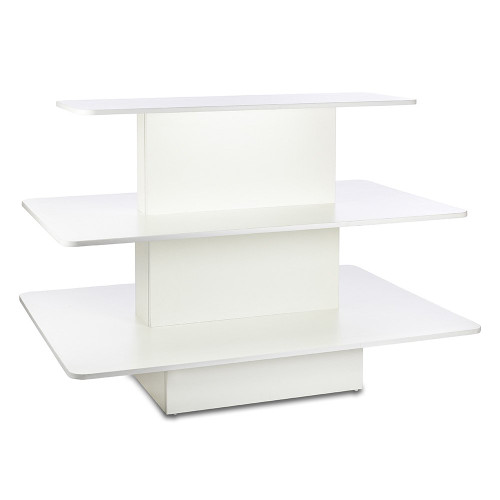 White 3-Shelf Island Display Gondola - Rectangular - Silhouette Range