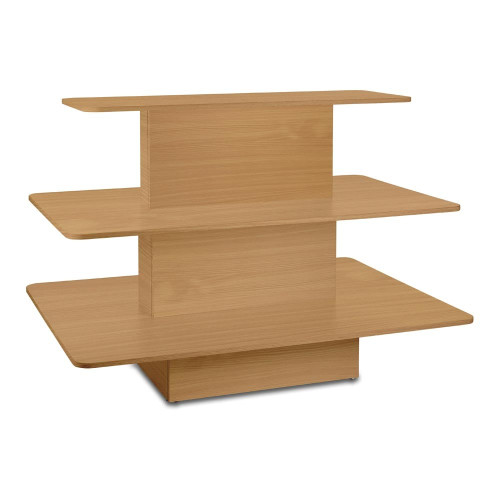 Beech 3-Shelf Island Display Gondola - Rectangular - Silhouette Range