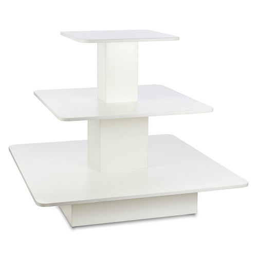 White 3-Shelf Island Display Gondola - Square - Silhouette Range