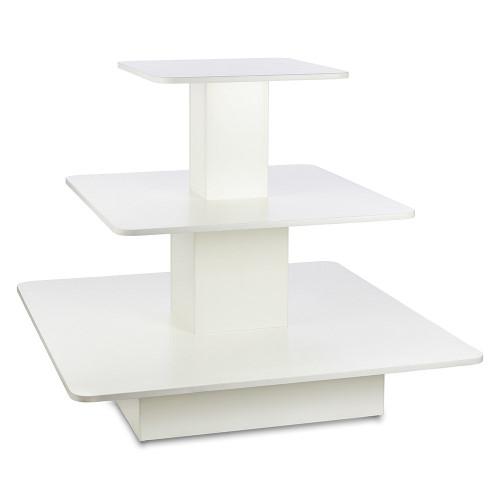 White 3-Shelf Island Display Gondola - Square - Silhouette Range