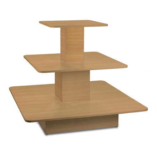 Beech 3-Shelf Island Display Gondola - Square - Silhouette Range