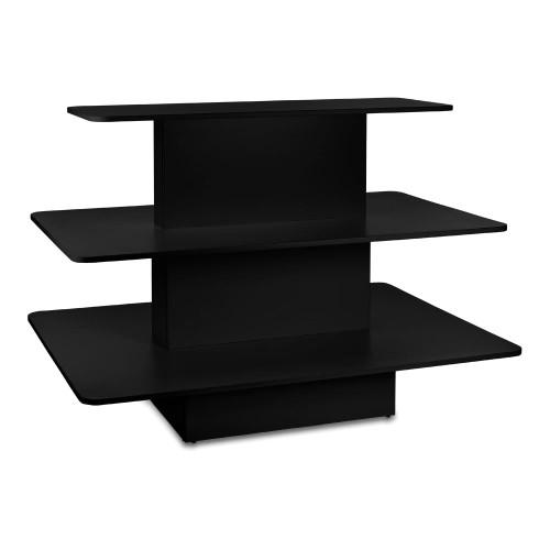Black 3-Shelf Island Display Gondola - Rectangular - Silhouette Range