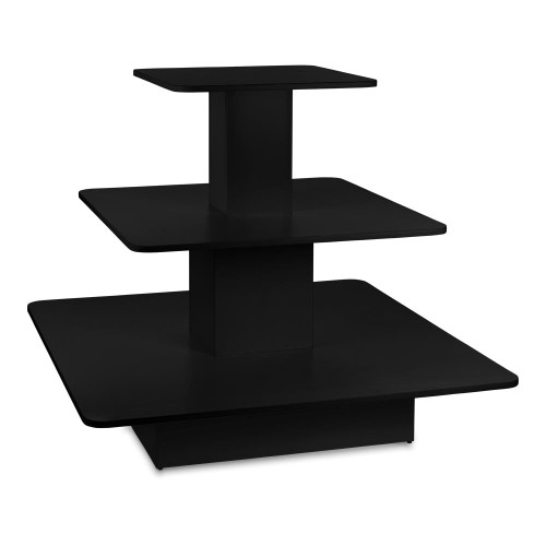 Black 3-Shelf Island Display Gondola - Square - Silhouette Range