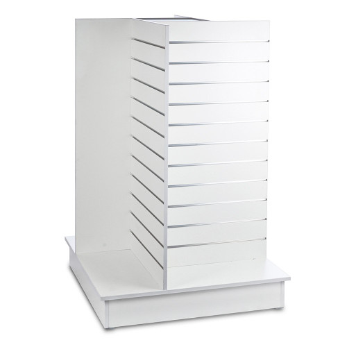 White Slatwall '4-way' Display Gondola with Aluminium Inserts - Silhouette Range