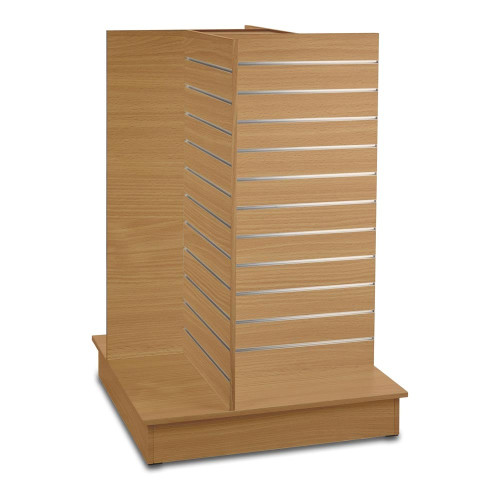 Beech Slatwall '4-way' Display Gondola with Aluminium Inserts - Silhouette Range