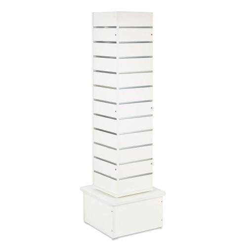 White Slatwall Revolving Tower with Aluminium Inserts - Silhouette Range