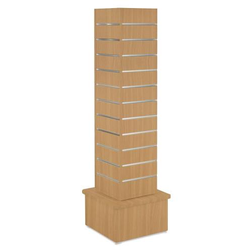 Beech Slatwall Revolving Tower with Aluminium Inserts - Silhouette Range
