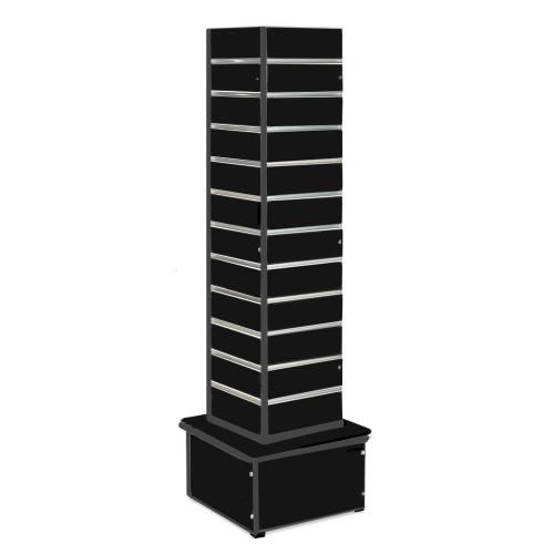 Black Slatwall Revolving Tower with Aluminium Inserts - Silhouette Range