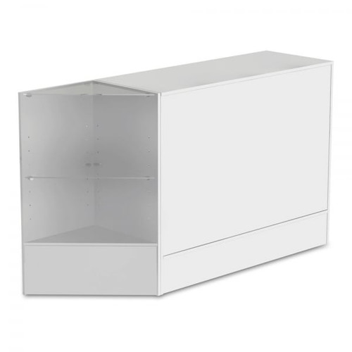 White Shop Counter and Corner Display Unit with Glass Shelves Bundle - Silhouette Range