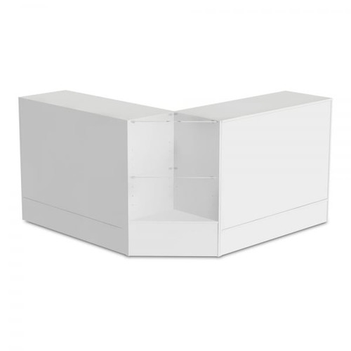 2 x White Shop Counters and 1x Corner Display Unit with Glass Shelves Bundle