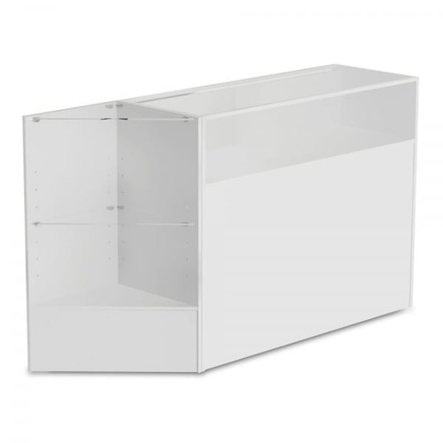 White Shop Counter With 1/4 Glass Display and Corner Display Unit Bundle - Silhouette Range