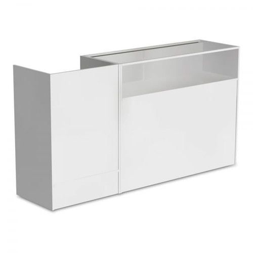 White Shop Counter With 1/4 Glass Display and Till Unit Bundle - Silhouette Range
