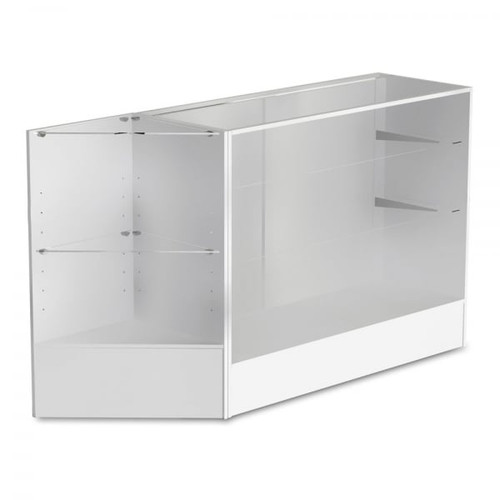 White Shop Counter With 3/4 Glass Display and Corner Display Unit Bundle - Silhouette Range