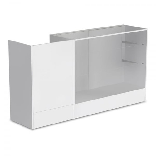 White Shop Counter With 3/4 Glass Display and Till Unit Bundle - Silhouette Range