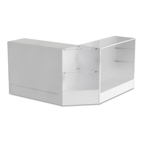 White Shop Counter, Shop Counter With 3/4 Glass Display and Corner Display Unit Bundle