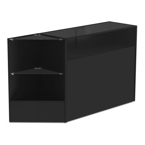 Black Shop Counter With 1/4 Glass Display and Corner Display Unit Bundle - Silhouette Range