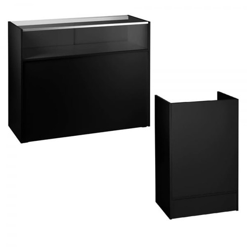Black Shop Counter With 1/4 Glass Display and Till Unit Bundle - Silhouette Range