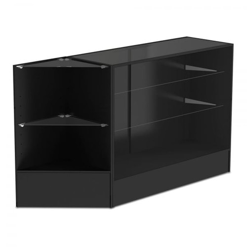 Black Shop Counter With 3/4 Glass Display and Corner Display Unit Bundle - Silhouette Range