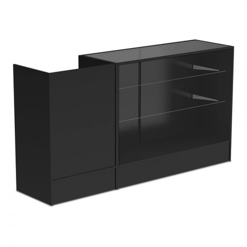 Black Shop Counter With 3/4 Glass Display and Till Unit Bundle - Silhouette Range