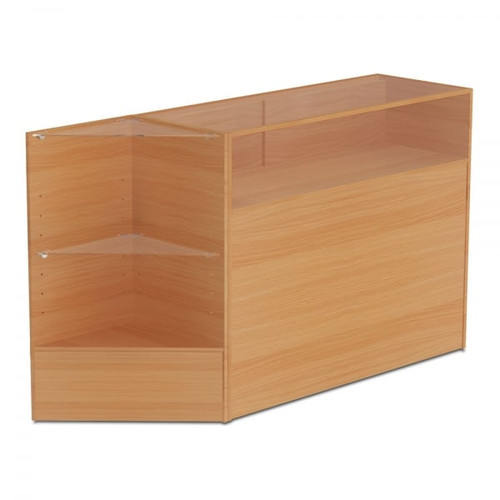 Beech Shop Counter With 1/4 Glass Display and Corner Display Unit Bundle - Silhouette Range