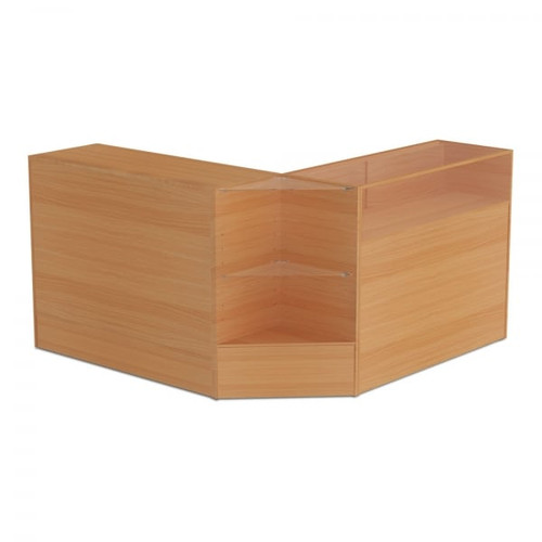Beech Shop Counter, Shop Counter With 1/4 Glass Display and Corner Display Unit Bundle