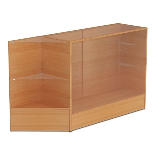 Beech Shop Counter With 3/4 Glass Display and Corner Display Unit Bundle - Silhouette Range