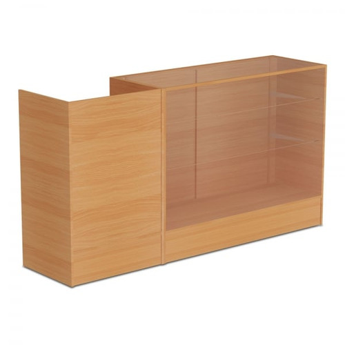 Beech Shop Counter With 3/4 Glass Display and Till Unit Bundle - Silhouette Range