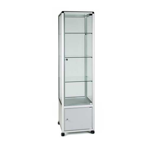 Glass Display Cabinet Tower with 3 Glass Shelves and Storage Cupboard - W500mm