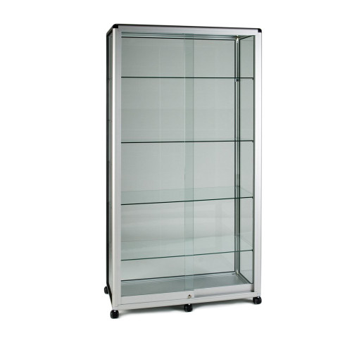 Glass Display Cabinet Tower with 4 Glass Shelves - Contour Range