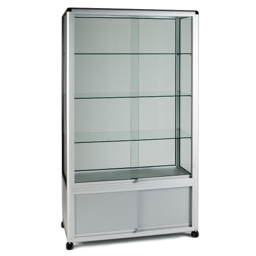 Glass Display Cabinet Tower with 3 Glass Shelves and Storage Cupboard - W1000mm