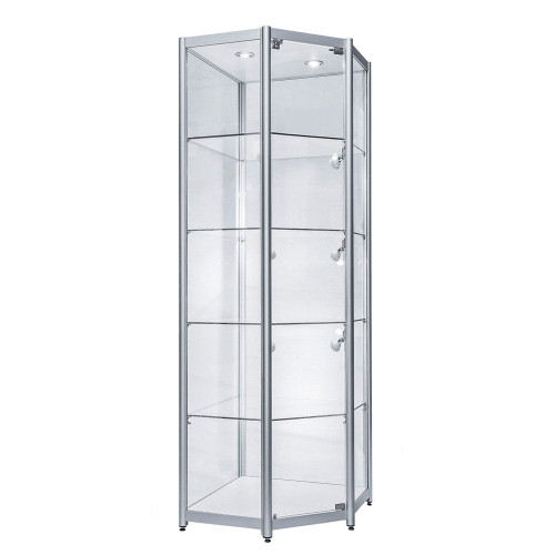 Skyline Aluminium Tower Showcase - All Glass Display - Corner Unit
