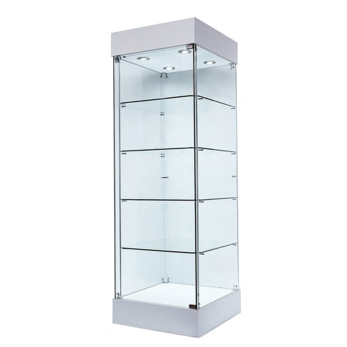 Skyline 360 Frameless Tower Showcase - All Glass Display - Single Door