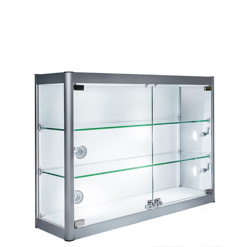 Wall Mounted Skyline Aluminium Showcase Glass Display - W800mm